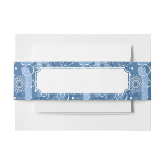 Holiday Snowflakes and Stars Background Invitation Belly Band