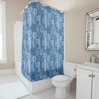 Holiday Snowflakes and Stars Background Shower Curtain