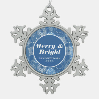 Holiday Snowflakes and Stars Background Snowflake Pewter Christmas Ornament