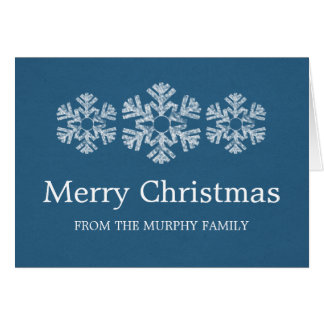 Holiday Snowflakes Christmas Card, Blue