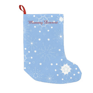 Holiday Snowflakes on Blue Small Christmas Stocking