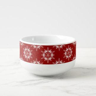 Holiday Snowflakes on Red Soup Mug