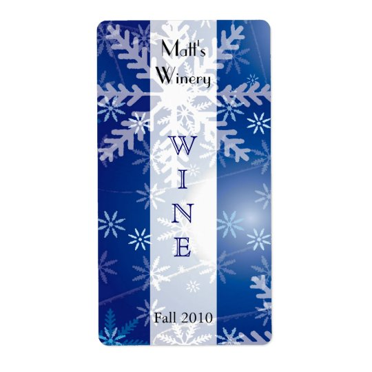 Holiday Snowflakes Wine Labels
