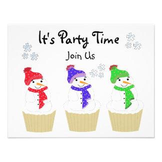 Holiday Snowman Cupcake Invitation