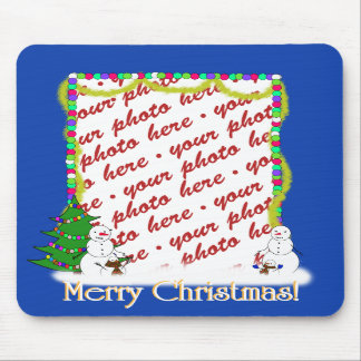 Holiday Snowman Family Photo Frame Mouse Pads