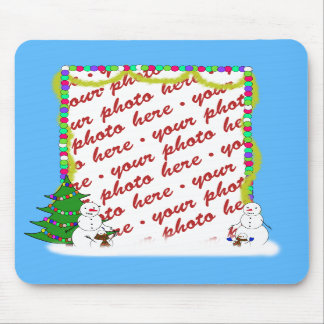 Holiday Snowman Family Photo Frame Mouse Pad