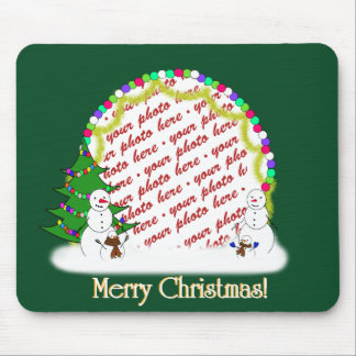 Holiday Snowman Family Photo Frame Mouse Mats
