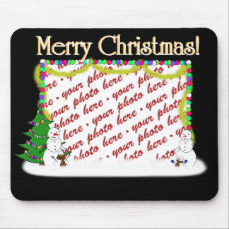 Holiday Snowman Family Photo Frame Mouse Mat