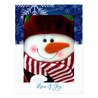 Holiday Snowman Love Joy Snowflakes Postcard