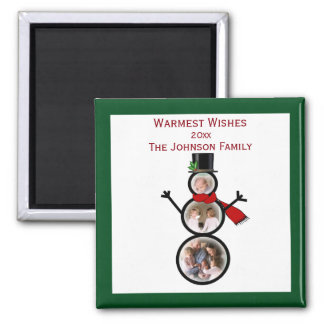 Holiday Snowman Photo Template to Personalize Magnet