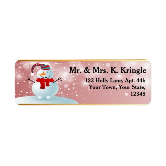 Holiday Snowman Return Address Labels