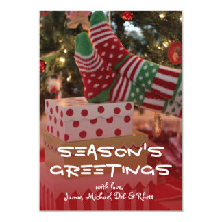 Holiday socked feet 13 cm x 18 cm invitation card