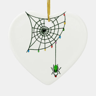 Holiday Spider Web and Lights Ceramic Heart Decoration