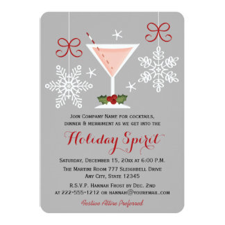 Holiday Spirit Pink Martini Corporate Party 13 Cm X 18 Cm Invitation Card