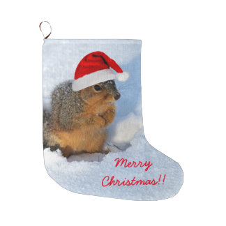 Holiday Squirrel Large Christmas Stocking