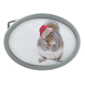 Holiday Squirrel Oval Belt Buckle
