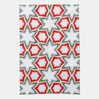 Holiday Stars in Green and Red Tea Towel
