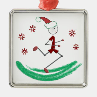 Holiday Stick Runner Guy - (one-sided) Silver-Colored Square Decoration
