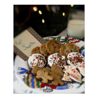 Holiday still life. Christmas cookies & milk for 2 Poster