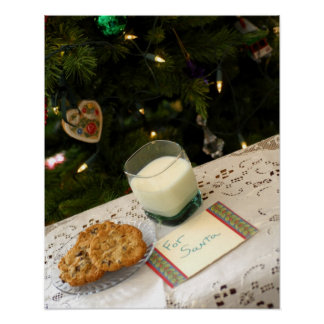 Holiday still life. Christmas cookies & milk for Poster