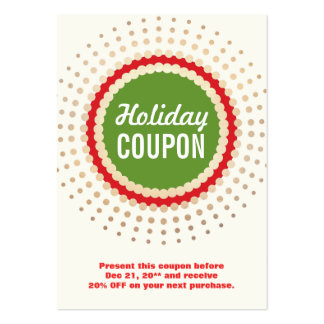 Holiday Store Coupon Promotional Pack Of Chubby Business Cards