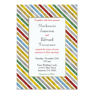 Holiday Stripe Wedding Invitation Gold Red Silver