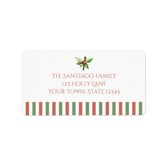 Holiday Striped Border with Holly Label