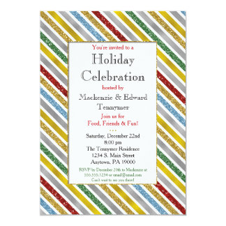 Holiday Stripes Christmas Party Invitation Glam