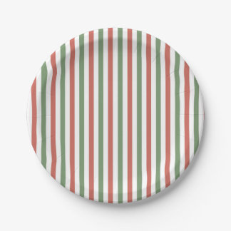 Holiday Stripes in Red, Green and White Paper Plate