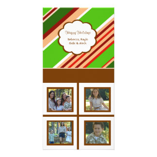 Holiday Stripes White Background Personalized Photo Card