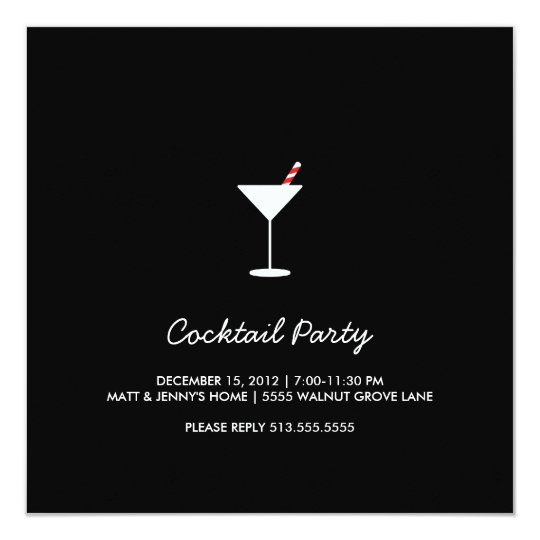 Holiday Swizzle Cocktail Party Invitation Black
