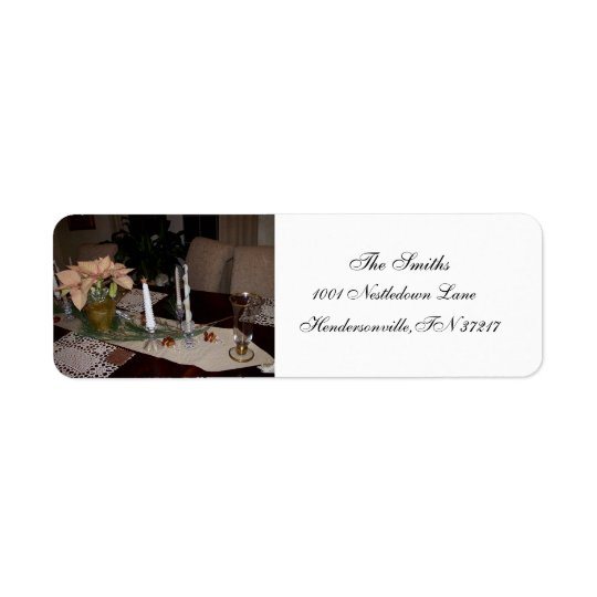 Holiday table setting return labels