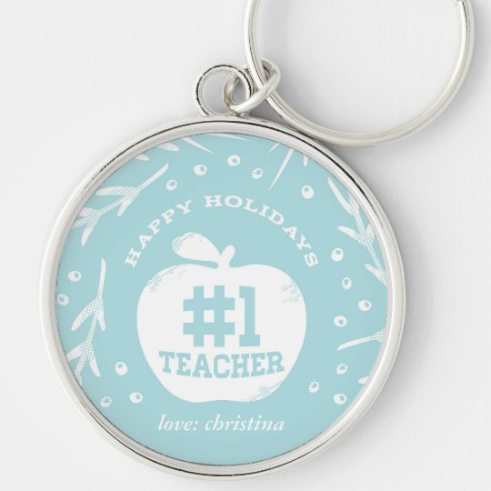 Holiday Teacher Keychain Blue