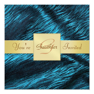 Holiday Teal and Gold Ribbon New Years Invitation