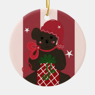 Holiday Teddy Bear on a Red Striped Background Christmas Ornament