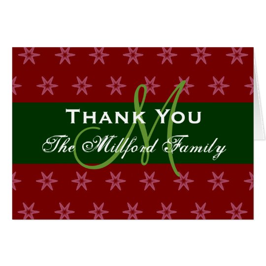 Holiday Thank You Red Green Family Monogram 02 Card