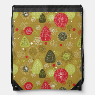 Holiday Tree Background Drawstring Bag