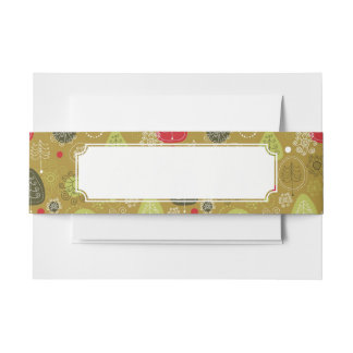 Holiday Tree Background Invitation Belly Band