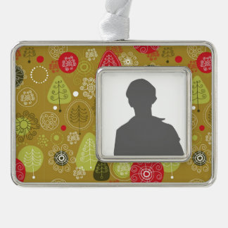 Holiday Tree Background Silver Plated Framed Ornament