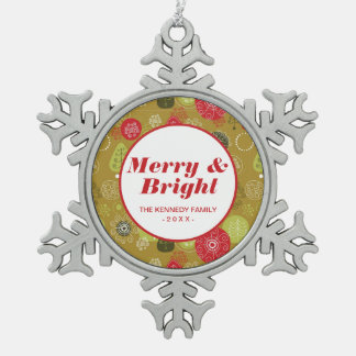 Holiday Tree Background Snowflake Pewter Christmas Ornament