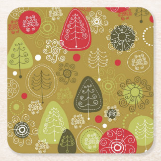 Holiday Tree Background Square Paper Coaster
