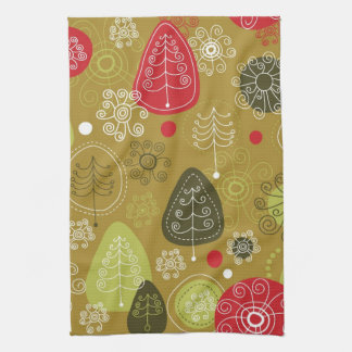 Holiday Tree Background Tea Towel