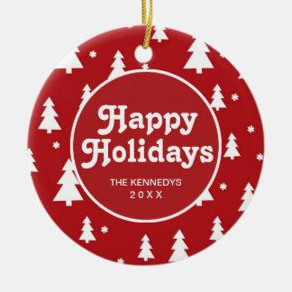Holiday Tree Pattern Round Ceramic Decoration