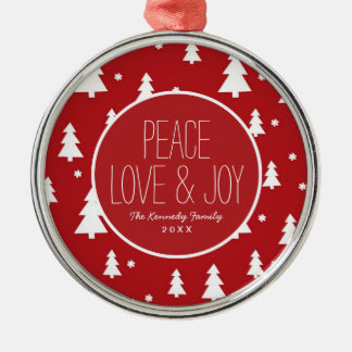 Holiday Tree Pattern Silver-Colored Round Decoration