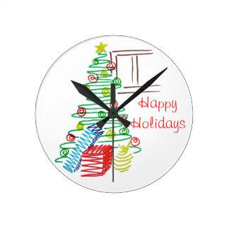 Holiday tree round clock