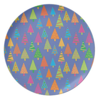 Holiday trees melamine plate