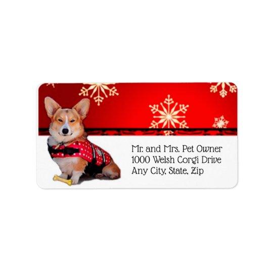Holiday Tricolor Corgi Label