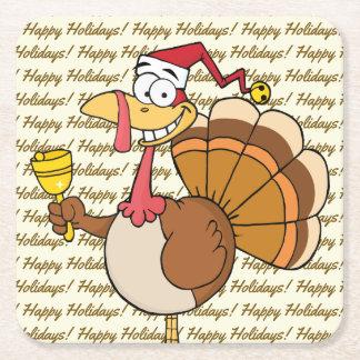 Holiday Turkey Cartoon Square Paper Coaster