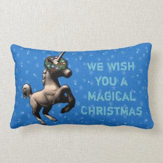"""Holiday Unicorn"" Christmas Lumbar Pillow (Blue)"