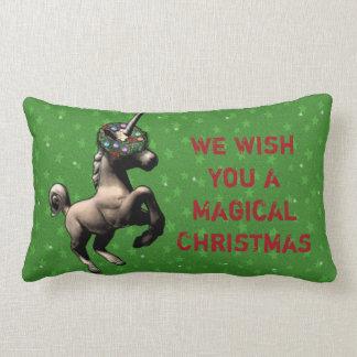 """Holiday Unicorn"" Christmas Lumbar Pillow (Green)"